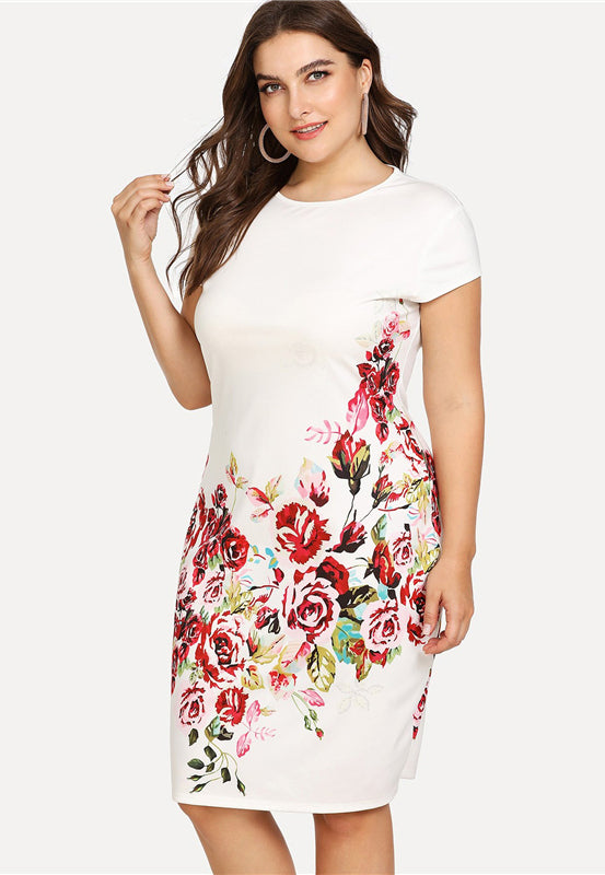 Plus Size Floral Print Round Neck Cap Sleeve Dress