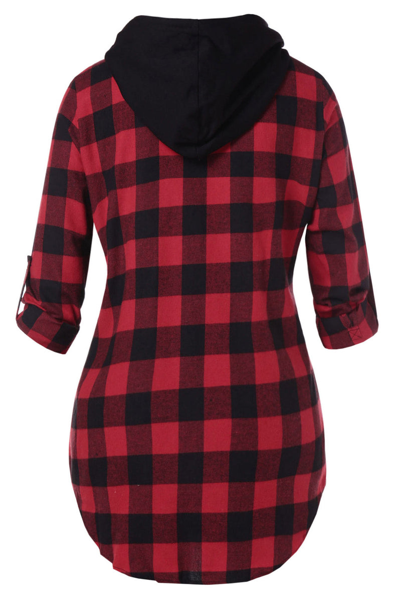 Plus Size Hooded Roll Sleeve Checker Plaid Zip Up Jacket Top