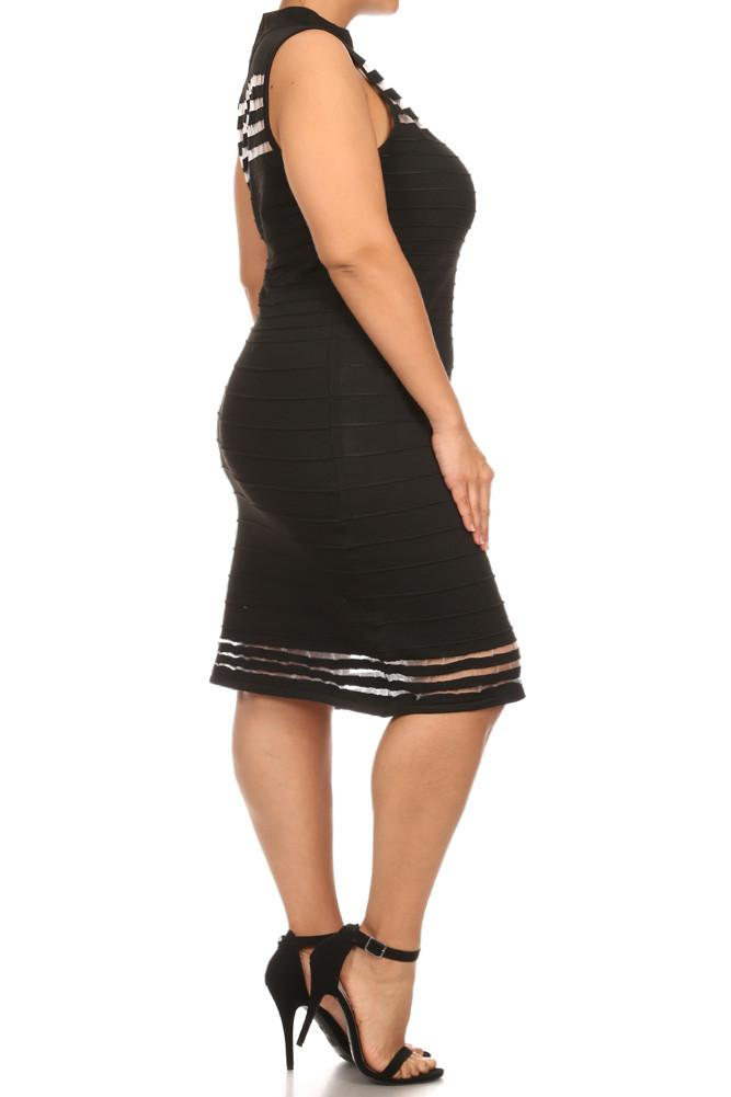 Plus Size Candlelight Net Ribbed Mock Neck Dress