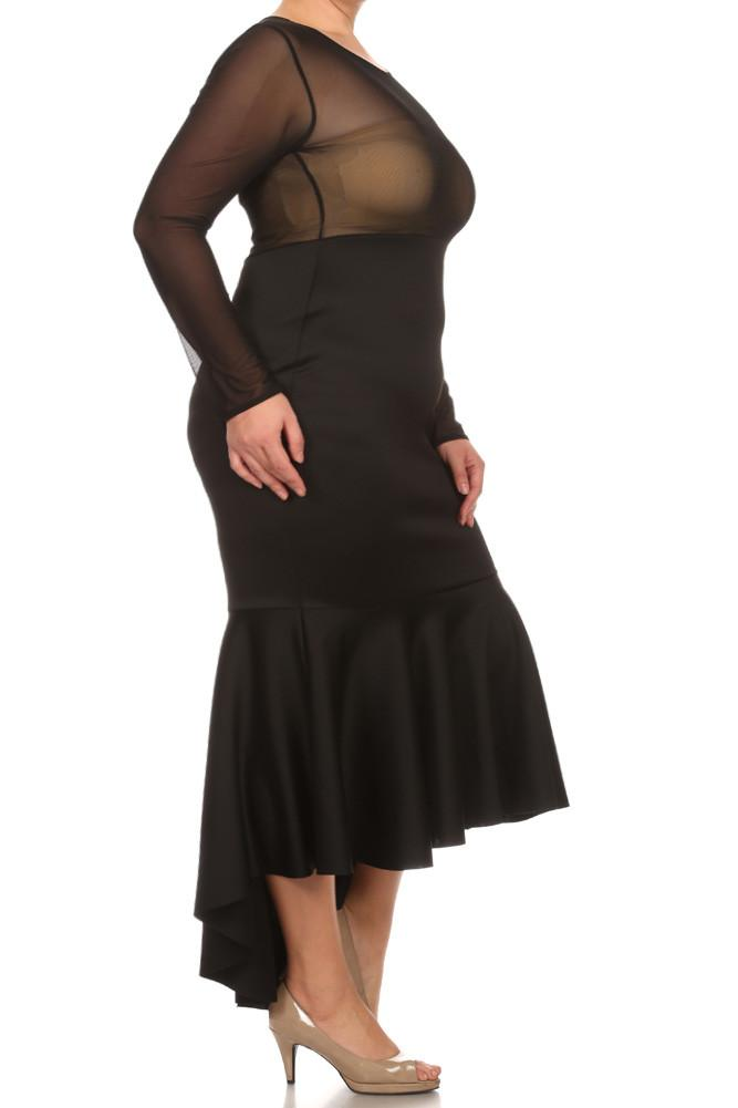 Plus Size For Love Mesh Fish TailMaxi Dress