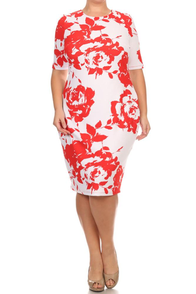 Plus Size Floral Mid Sleeve Dress