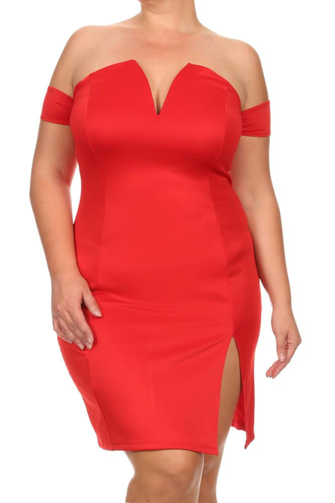 Plus Size Mia Plunging Neckline Off Shoulder Dress