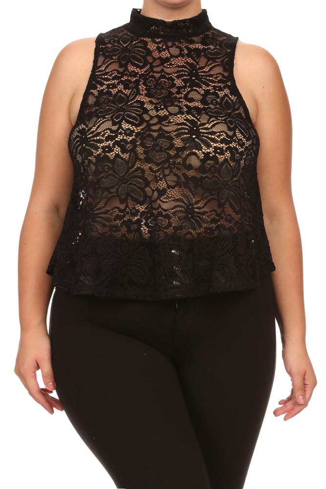 Plus Size For Love See Through Floral Lace Top