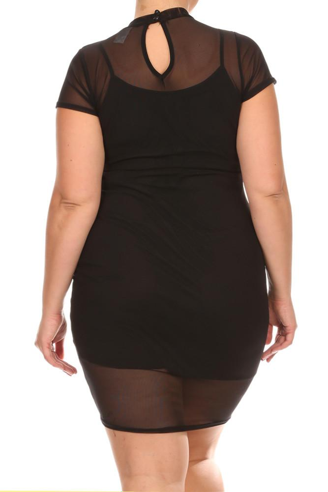 Plus Size Mesh Babe Mini Black Dresss