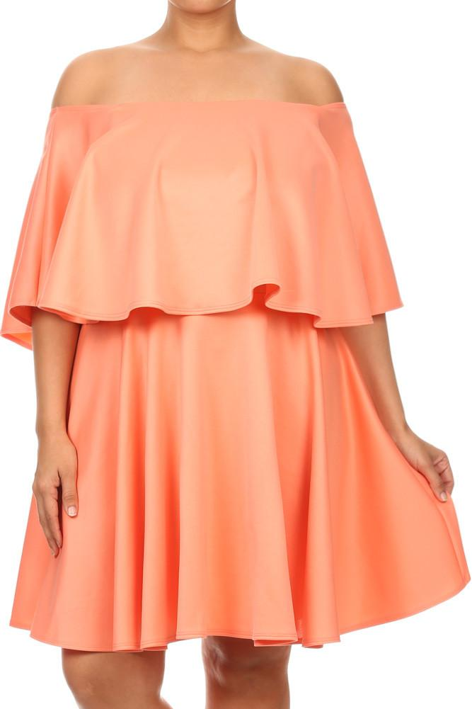 Plus Size Glamorous Ruffle Off Shoulders Skater Dress
