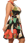 Plus Size Lovely Floral Deep V Hem Skater Dress
