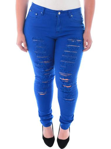 Plus Size Designer Slashed Blue Skinny Jeans
