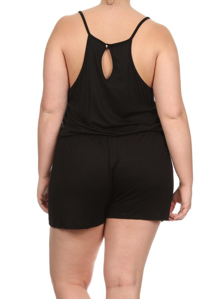 Plus Size Loving Spring Days Black Romper