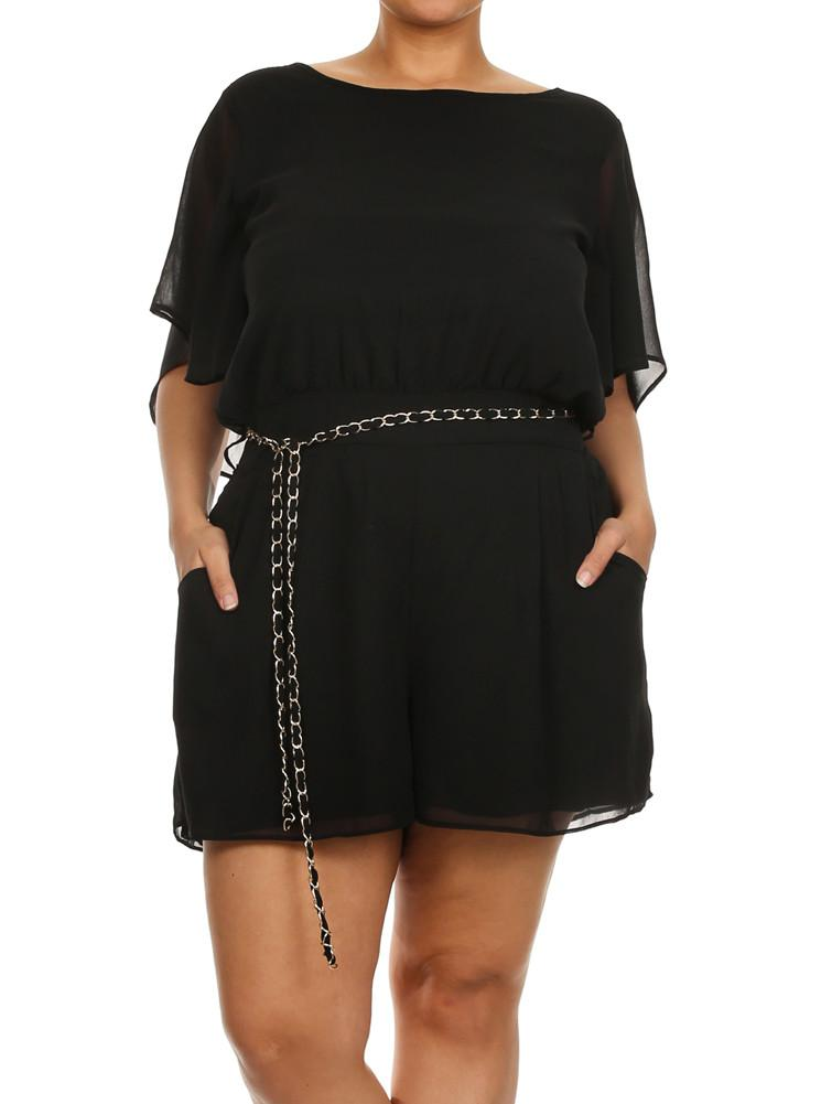 Plus Size Butterfly Sleeves Sheer Belted Romper