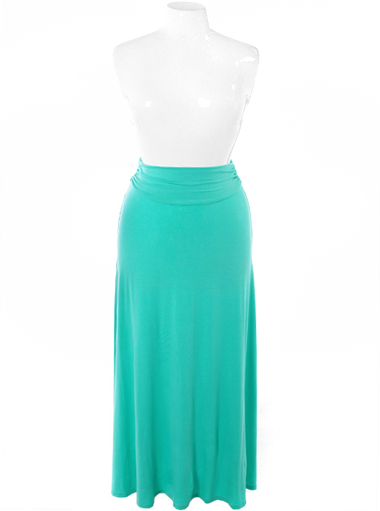 Plus Size Gorgeous Flowing Teal Maxi Skirt