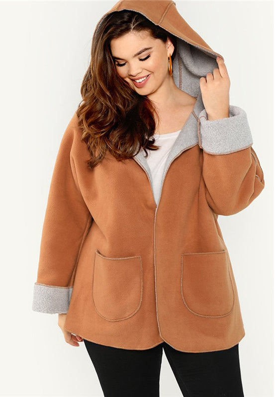 Plus Size Fleece Lined High Street Hooded Coat Top