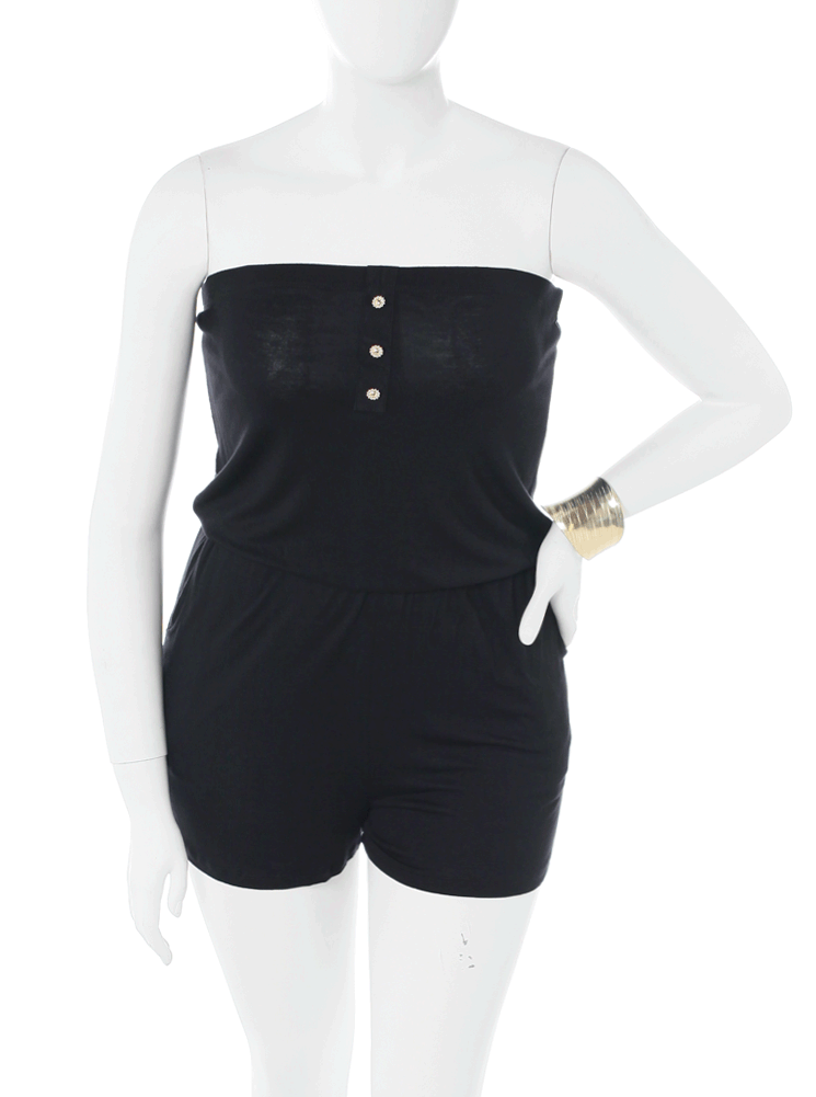 Plus Size Venture Out Black Romper