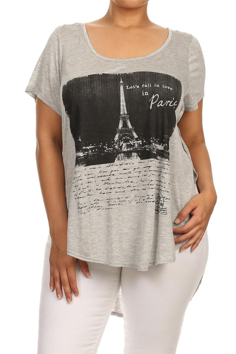 Plus Size Let's Fall In Love In Paris Graphic Grey Top