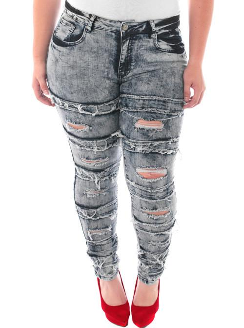 Plus Size Designer Slashed Rocker Blue Jeans