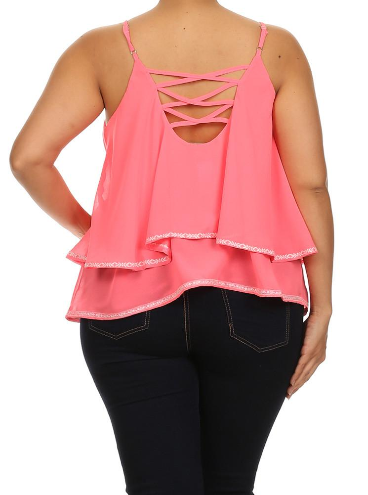 Plus Size Bordered Sexy Pink Cami