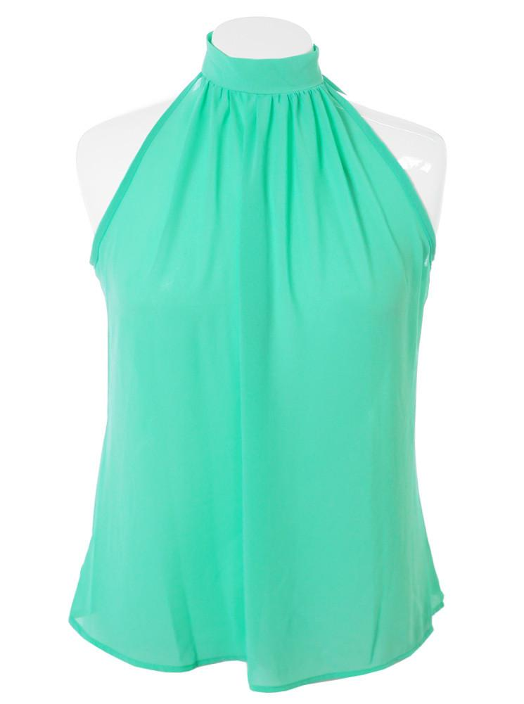 Plus Size Butterfly Back Sheer Mint Top