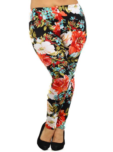 Plus Size Floral Blossoms Leggings