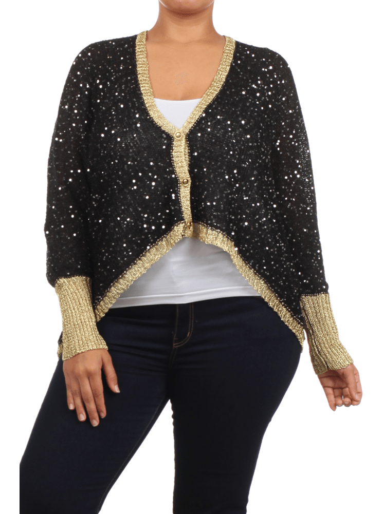 Plus Size Knitted Disco Baby Sequin Cardigan