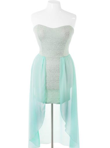 Plus Size Sparkling Flake Dip Hem Mint Dress