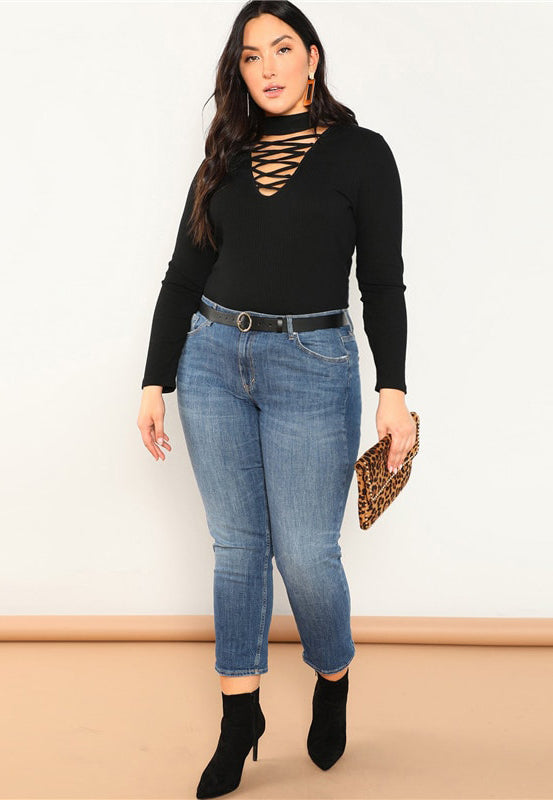 Plus Size Stand Collar Long Sleeve Black T shirt Slim Fit Solid Top