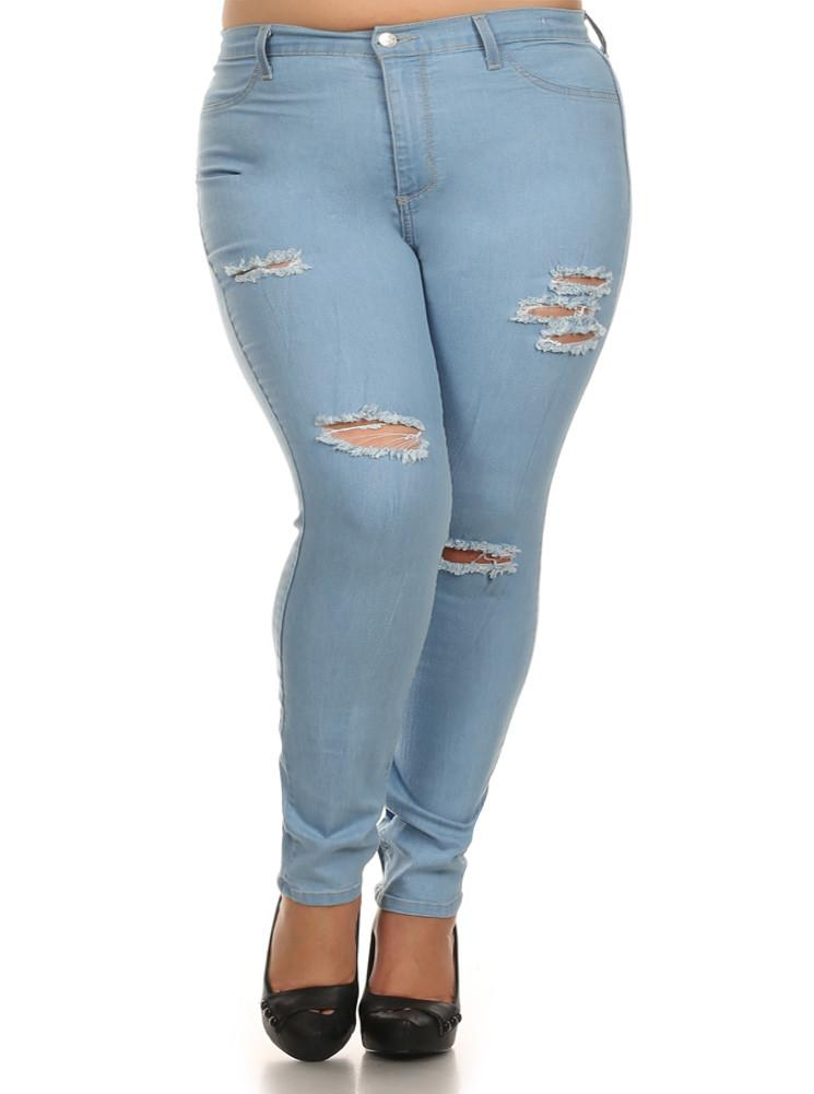 Plus Size Blue Sky Slashed Denim Jeans