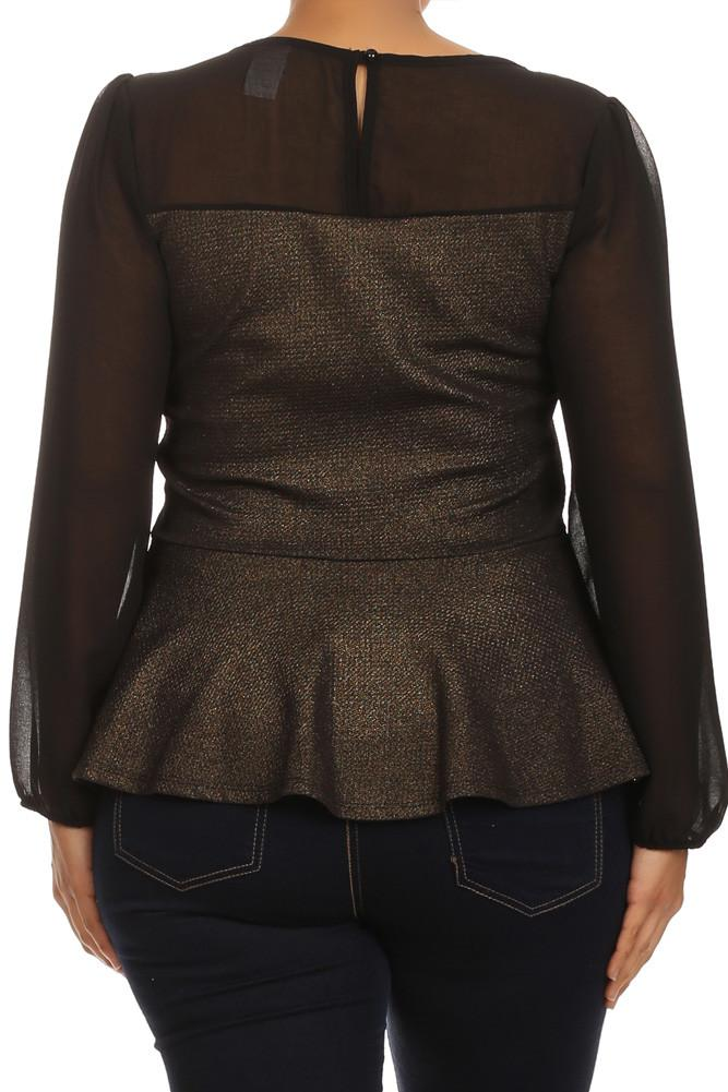 Plus Size Under The Moonlight Sheer Peplum Top