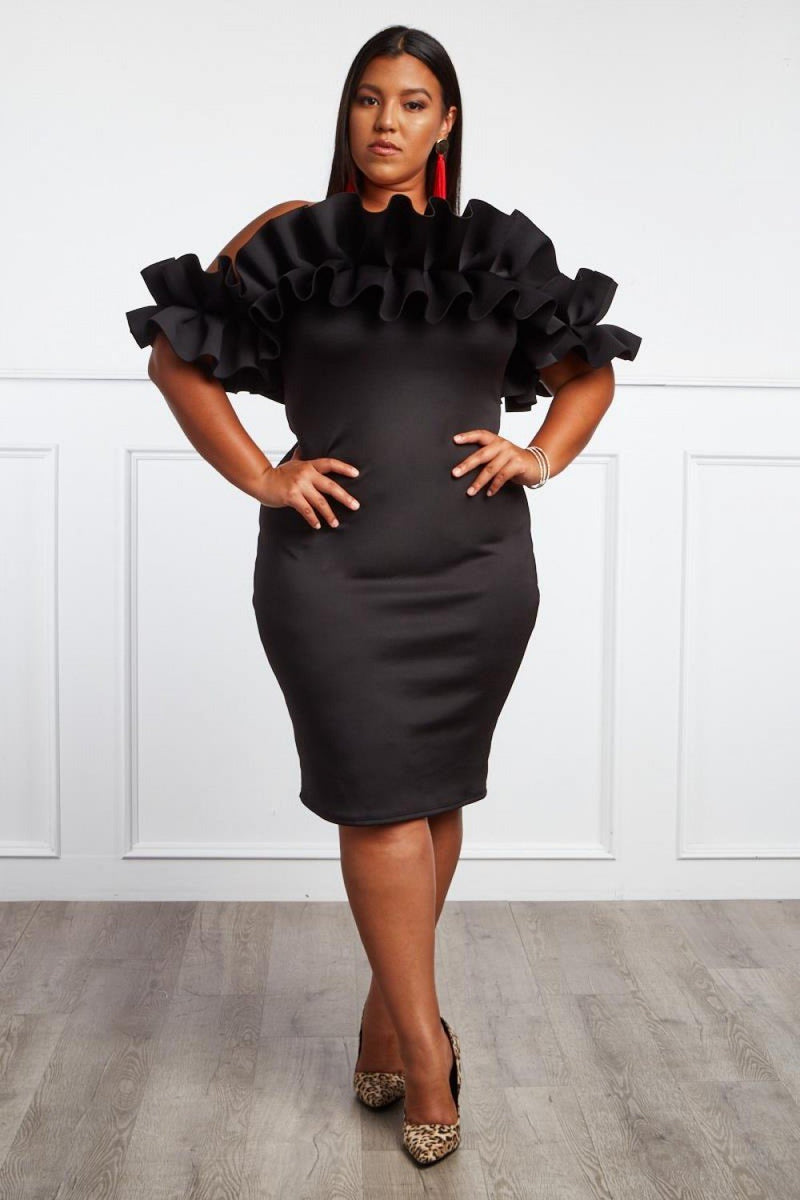 Plus Size Glam Ruffle Off-The-Shoulder Dress