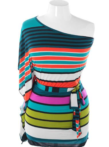 Plus Size Colorful Stripe One Shoulder Teal Dress