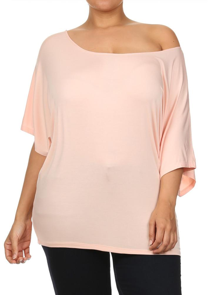 Plus Size Essential Off The Shoulder Pink Top