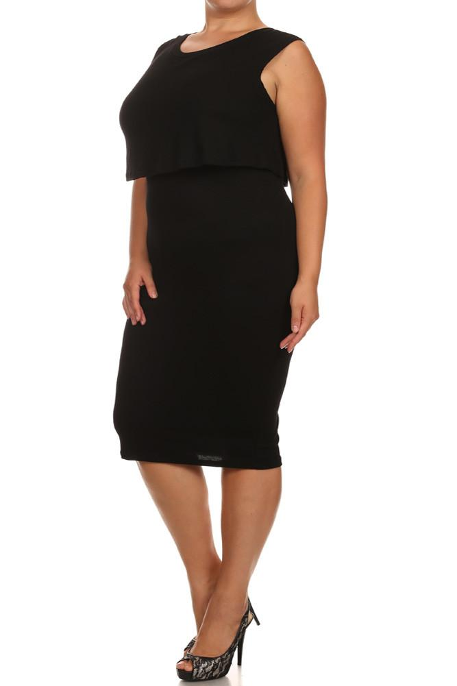 Plus Size Mod Ribbed Layered Black Midi Dress