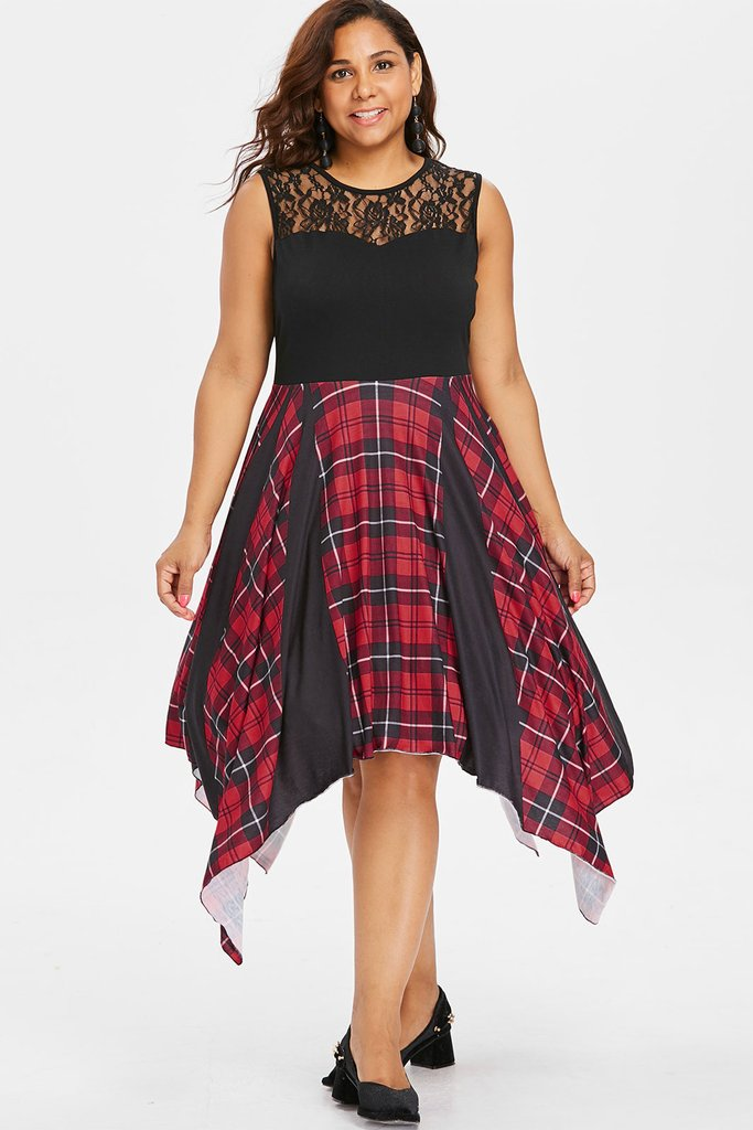 Plus Size Lace Panel Designer Plaid Asymmetrical Flare Dress