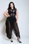 Plus Size Two Piece See Through Sleeveless Dress
