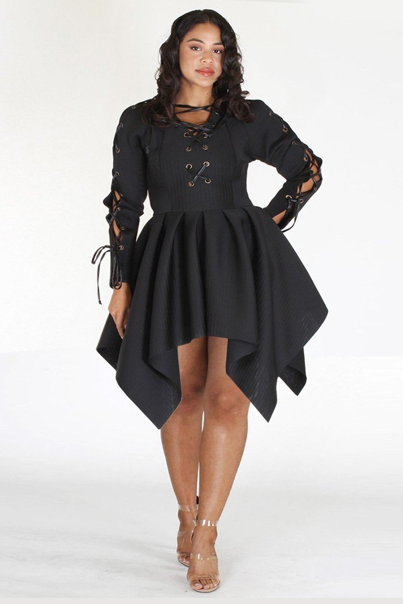 Plus Size Classy Lace Up Peplum Flare Top Dress Black