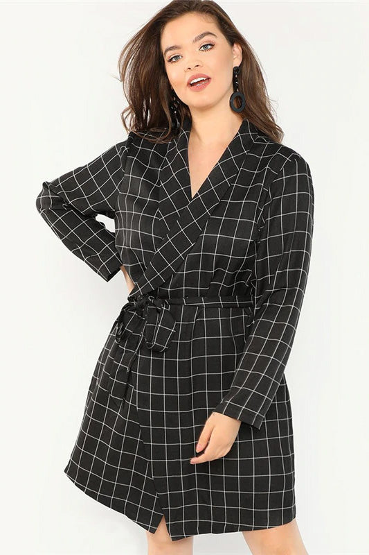 Plus Size Black Elegant Shawl Collar Belted Plaid Trench Coat Top