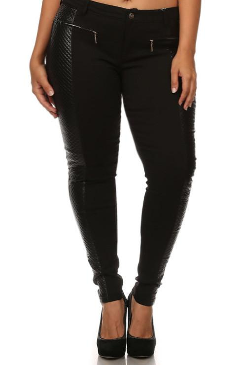 Plus Size Leather Accent High Waist Stretchy Pants