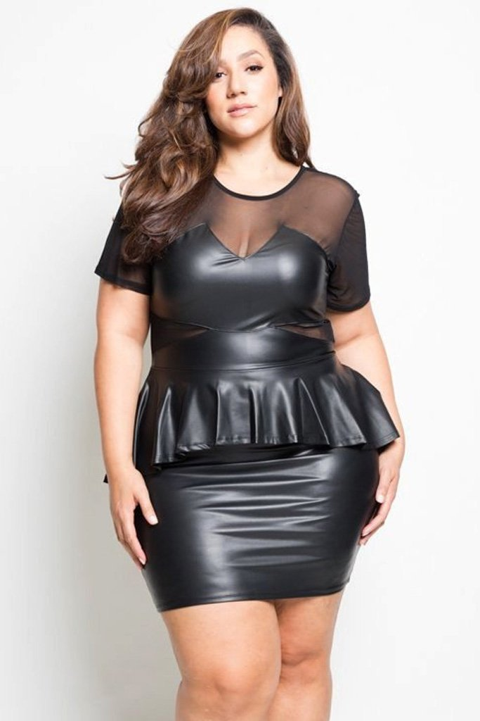 Plus Size Chic Faux Leather Peplum Mesh Dress