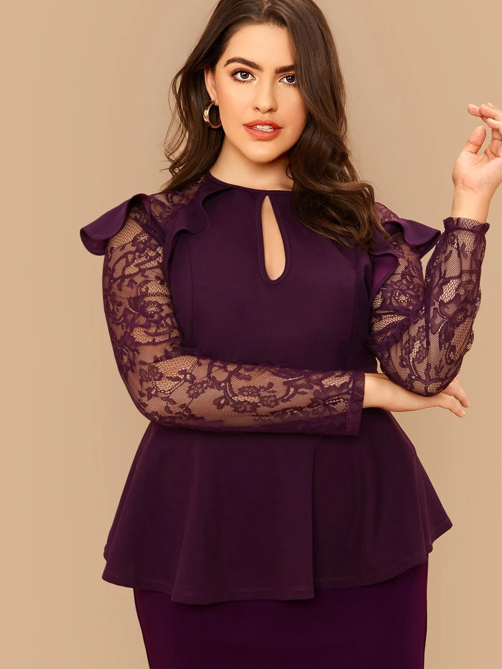 Plus Size Ruffle Trim Lace Sleeve Peplum Top