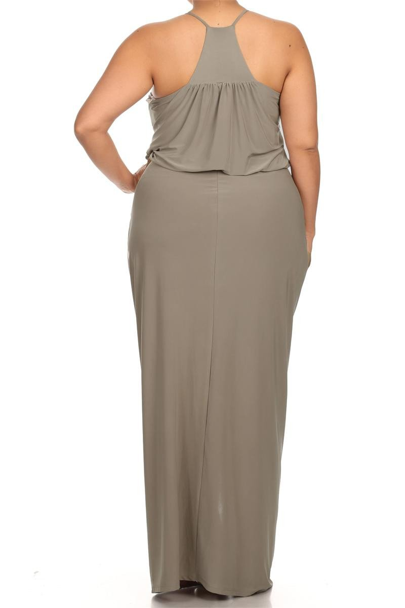 Plus Size Memorable Drapey knot Front Taupe Dress