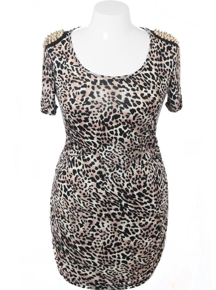 Plus Size Gold Spike Shoulder Leopard Dress