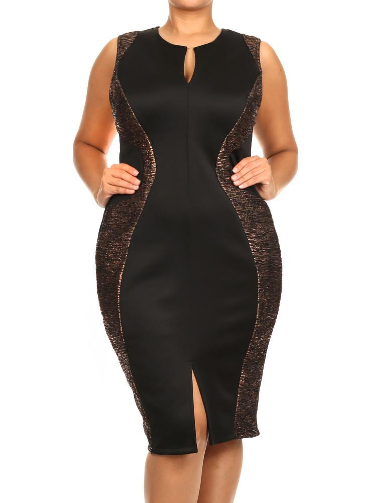 Plus Size Metallic Ribbed Foil Gold Midi Dress
