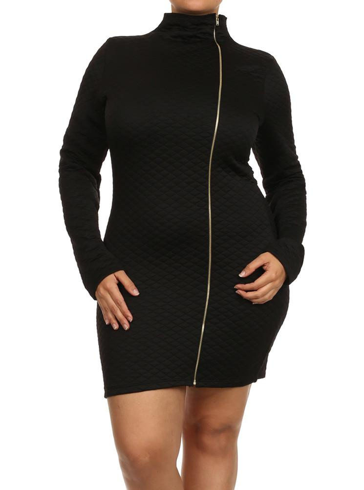 Plus Size Mock Turtle Neck Quilted Zipper Dress