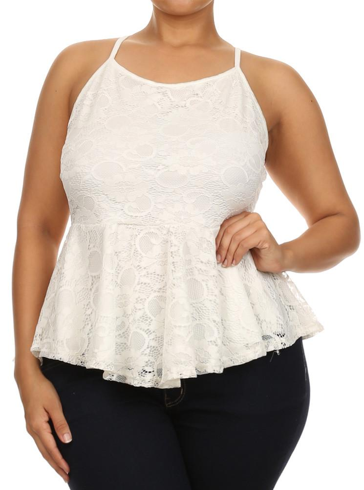 Plus Size Blooming Days Floral Peplum White Tank