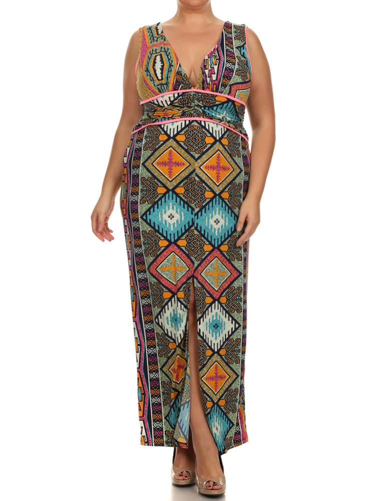 Plus Size Tribal Goddess Maxi Dress