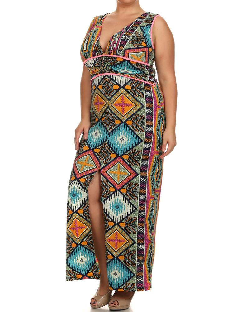 Plus Size Tribal Goddess Maxi Dress – slayboo