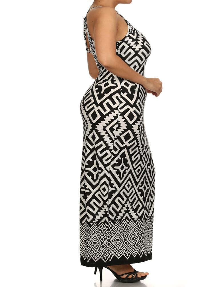 Plus Size Stylish Tribal Print Maxi Dress