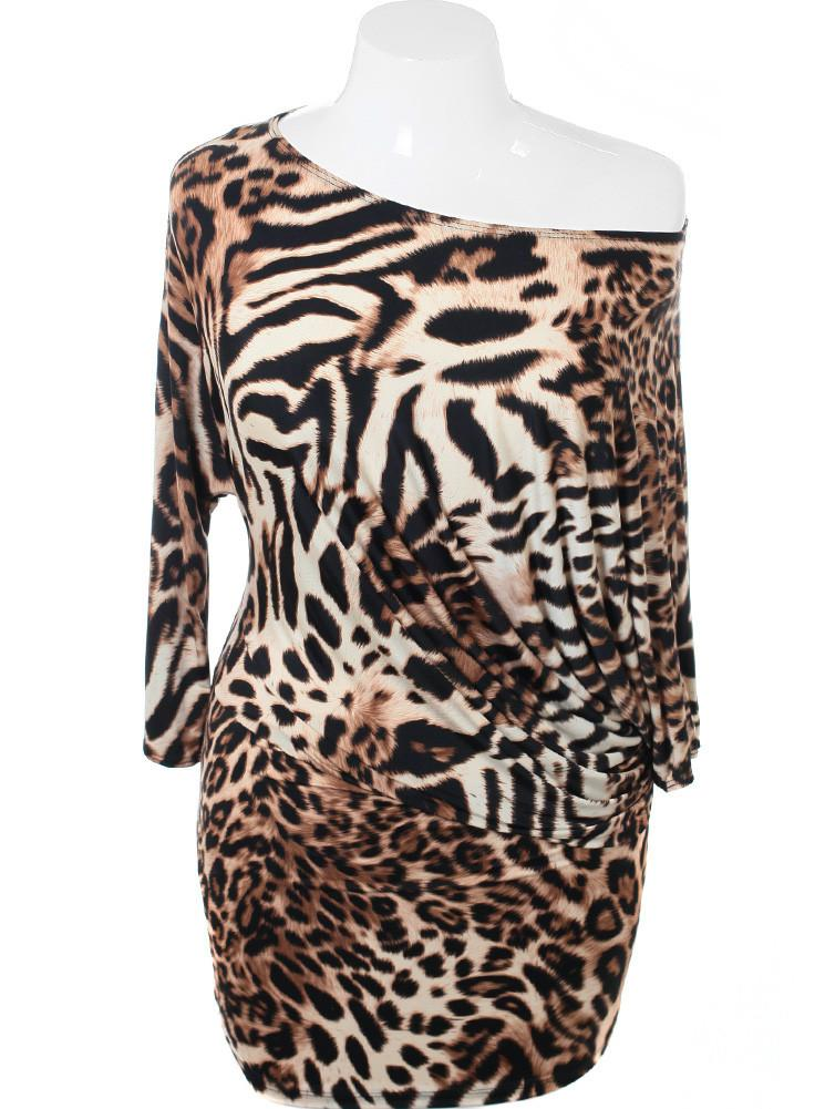 Plus Size Sexy Asymmetrical Leopard Dress