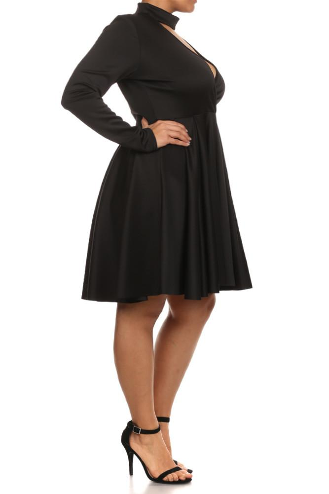 Plus Size Surplice Cutout Neckline Skater Dress