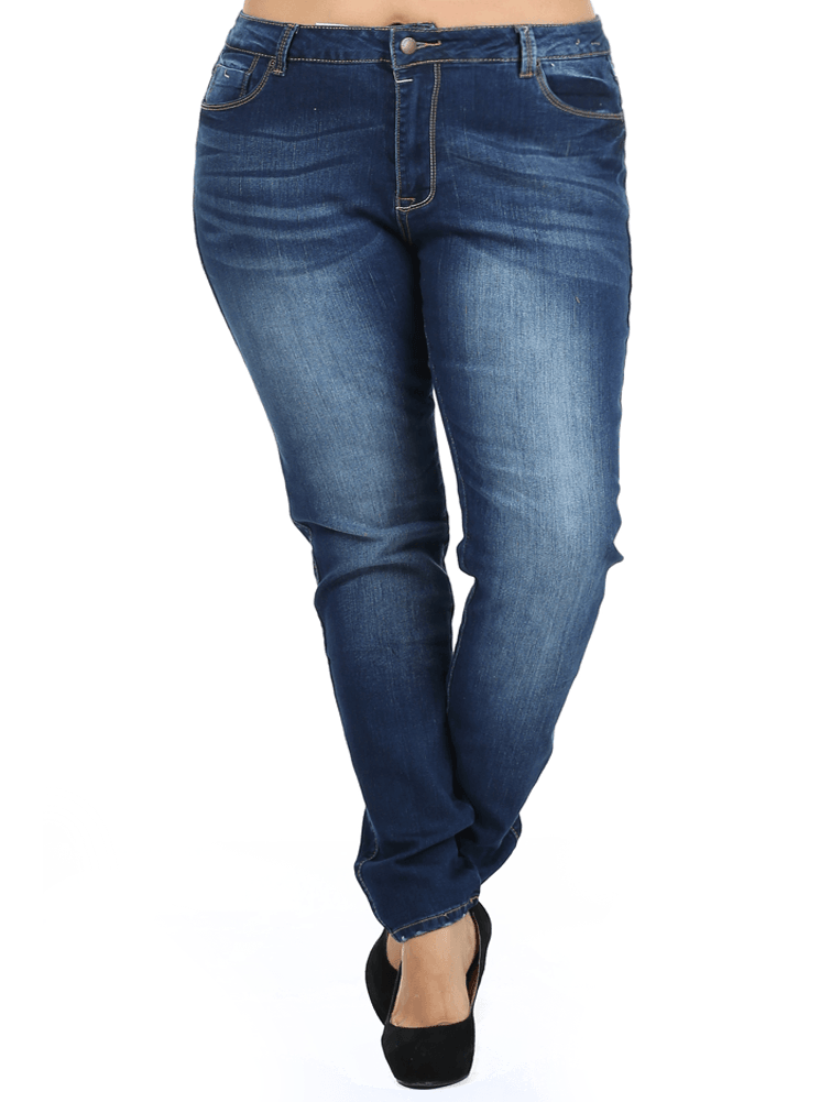 Plus Size Just Right Faded Navy Blue Denim Skinny Jeans