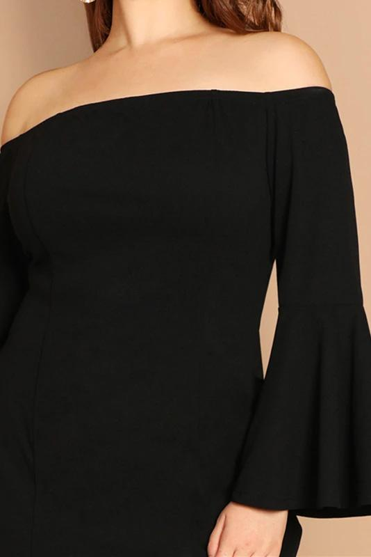 Plus Size Nightlife Black Slit Front Fishtail Off The Shoulder Dress
