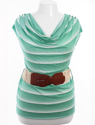 Plus Size Belted Drape Neck White And Green Striped Top